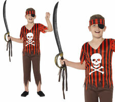 Jolly Roger Pirate Costume Childrens Pirates Fancy Dress Outfit Ages 4-12
