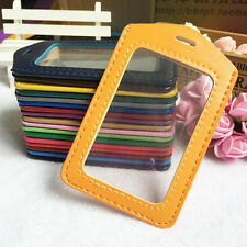1Pcs Colorful PU Vertical ID Card Badge Card Case Lanyard Hole Clear Holders New