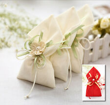 10-100X Vintage Jute Hessian Drawstring Wedding Favours Sweet Gift Jewellry Bags
