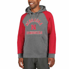 Nebraska Cornhuskers Gray Comfort Colorblocked Heathered Pullover Hoodie