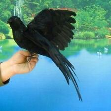 Fake Artificial Crow Raven Bird Realistic Taxidermy Home Garden Decor Y