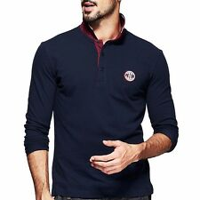 Mens Polo Shirt Long Sleeve Lapel Collar Contrast Color T-shirt  M  L  XL  XXL