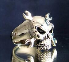 ARTWORK BRONZE BIKER RING MECHANIC SKULL CROSSED WRENCHES ANTIQUED ANY SIZE