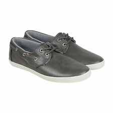 GBX Lott Mens Grey Leather Casual Dress Slip On Boat Shoes Shoes