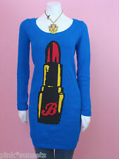 Betsey johnson Blue Red Lipstick Tunic Sweater Intarsia Knit Top Dress