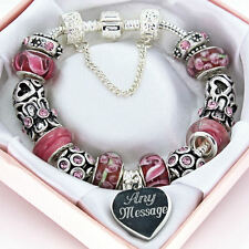 Personalised Pink Red Charm Bracelet ENGRAVED FREE Any Message BIRTHDAY Gift Box