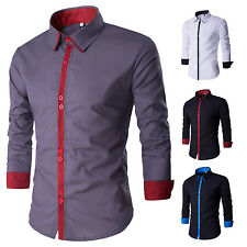 New Stylish Mens Slim Fit Tee Shirt Casual Long Sleeve Formal Business Dress Top