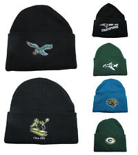 NFL Team Logo Cuff Winter Knit Beanie Hats 100% Acrylic Adult Sizes (PICK ONE)