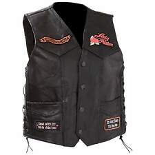 Ladies Diamond Plate Vest - Black Genuine Leather - Motorcycle