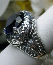 10ct Oval Cut *Blue Sapphire* Sterling Silver Scroll Filigree Ring Size: Any/MTO