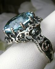 10ct *Blue Aquamarine* Sterling Silver Gothic Prong Filigree Ring Size: Any/MTO
