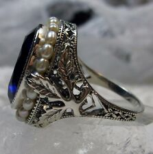 *Sapphire* & Pearl Sterling Silver Leaf Victorian Filigree Ring {Made To Order}