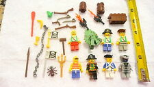 Nice Lot of 8 LEGO Pirates & Sea Creatures Mini Figures with Some Accessories