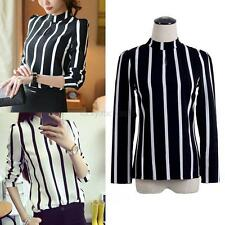 Summer Womens Chiffon Casual Long Sleeve Striped T Shirts Loose Tops Blouse Tee