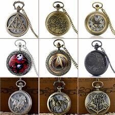 Pendant Bronze Retro Pocket Watch Quartz Necklace New Gift Vintage Antique Chain