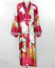 Burgundy Bridesmaid Women's Silk Satin Robe Kimono Bath Gown Nightgown S-XXXL
