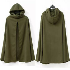 Women Poncho Cardigan Warm Parka Trench Cloak Long Jacket Loose Hooded Cape Coat