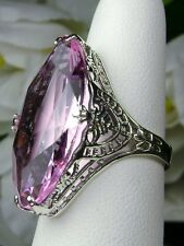13ct Big *Pink Topaz* Art Deco Filigree Sterling Silver Ring (MTO/New) Size Any