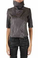RICK OWENS New Woman Grey Darkdust Biker Leather Jacket Short Sleeve NWT