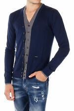 DSQUARED2 New Men Blue Sweater Cardigan Breast Pockets Wool NWT
