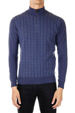 CORNELIANI New Men Turtle neck Jumper Merino Wool Sweater Blue Made in Italy