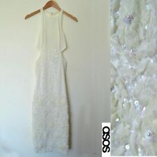 ASOS Backless White Sequin Embellished Maxi Dress Size 8 BRAND NEW WITH TAGS