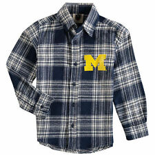 Wes & Willy Michigan Wolverines Preschool Navy Flannel Long Sleeve Shirt