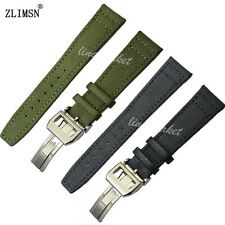 ZLIMSN 20mm 21mm 22mm New Men's Black Green Nylon and Leather Watch Band Strap