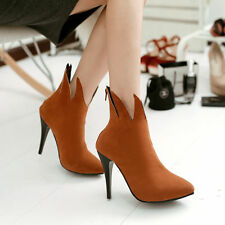 Stylish Womens Pointed Toe Pumps Court Shoes High Heels Faux Suede Ankle Boots