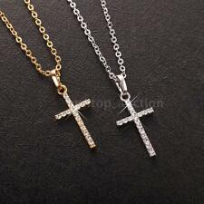 Luxurious Gold GP Zircon Rhinestone Crystal Cross Pendant Necklace Chain F7E4