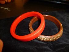 LOT OF 2 VINTAGE BAKELITE CELLULOID BANGLE BRACELETS RED/ CARVED BROWN FLORAL