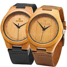 Mens REDEAR Wood 100% Bamboo Wristwatch Real Leather Band Wooden Gift Watch K7S6