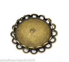 Wholesale HOT Bronze Tone Round Cabochon Frame Settings 25mm(Fit 20mm)