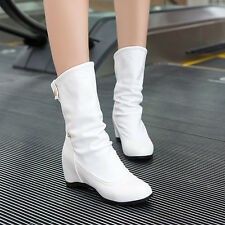 Womens Hidden Wedge Heels Pleated Pull On Cuffed Casual Classic Mid Calf Boots
