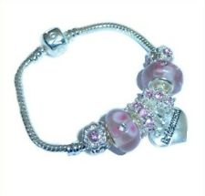 BRIDESMAID CHARM BRACELET CHILDRENS A/SIZES PINK/SILVER BEADS
