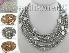 """X0152 Long 100"""" 14mm freshwater round coin pearl necklace"""