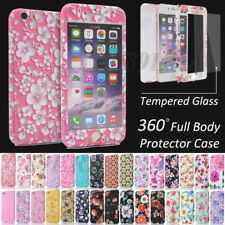 Floral Printed Skin Full Body Hard Hybrid Case Cover + Tempered Glass For iPhone