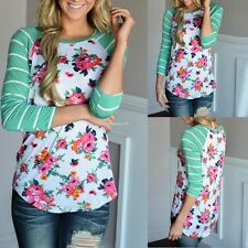 Women Casual Striped Long Sleeve Floral Patchwork Slim T-Shirt Tops