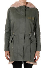 12/63 New Woman Green Pink Cotton Fur Jacket Parka Coat Made in Italy NWT