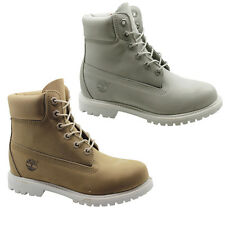 Timberland Icon 6 inch Premium Womens Boots Nubuck Leather Lace Up Grey Taupe