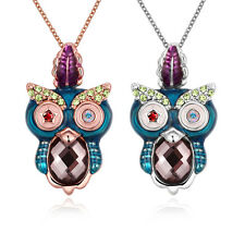 5pcs Wholesale Mixed Color Big Eyes Owl Pendant Chain Jewelry Women Necklace BS