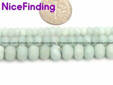 Rondelle Natural Faceted Amazonite Stone Beads For Jewelry Making Frosted 15''