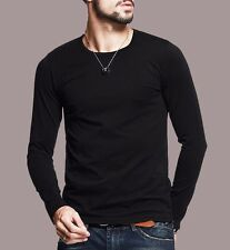 11 Colors Mens T-Shirt Long Sleeve Elasticity V-neck Fitted Basic Tee S-XXXL