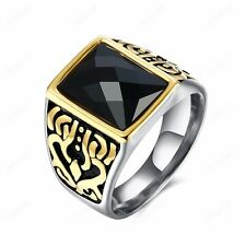 Men's 316L Titanium Stainless Steel Black CZ Military Ring Fashion Jewelry Gift