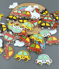 Wooden Buttons Cartoon Car 2-hole Sewing Scrapbooking DIY Crafts 25mm