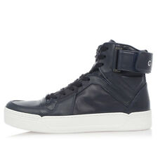GUCCI New men High top Leather Sneakers mod. NEW BASKETBALL Blue Made in Italy