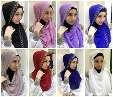 Muslim Mulberry Silk Hot Drill Scarf Hijab Islamic Shawls Arab Shayla Headwear