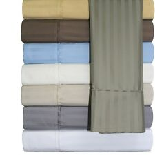 650 Thread Count Striped 100%  Cotton Unattached Waterbed Sheet Set