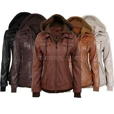 Vintage Women PU Trench Jacket Hooded Long Sleeves Coat Outerwear Parka F2I2