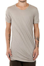 RICK OWENS New Men Grey Nil DOUBLE SHORT SLEEVE Tee Cotton t-shirt Made Italy